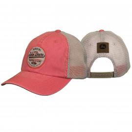John Deere pink, ivory mesh back cap