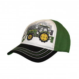 John Deere kids white, black, green twill cap with tractor screen print
