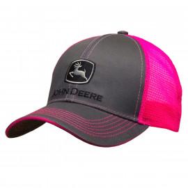 Grey/ hot pink Mesh Cap John Deere