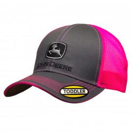 Kids grey/ hot pink Mesh Cap John Deere