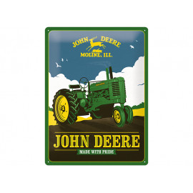 """John Deere Tin Sign """"Made with Pride"""""""