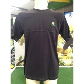 John Deere Black Tee with Green Double Stitching